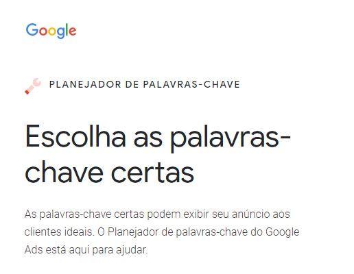 Agência de marketing digital SP sugere o planejador do Google